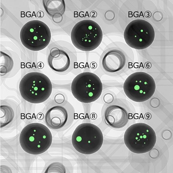 BGAはんだボールの非破壊観察による ボイド面積率測定