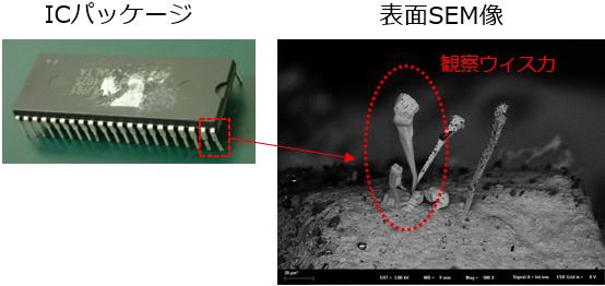 ICパッケージと表面SEM像